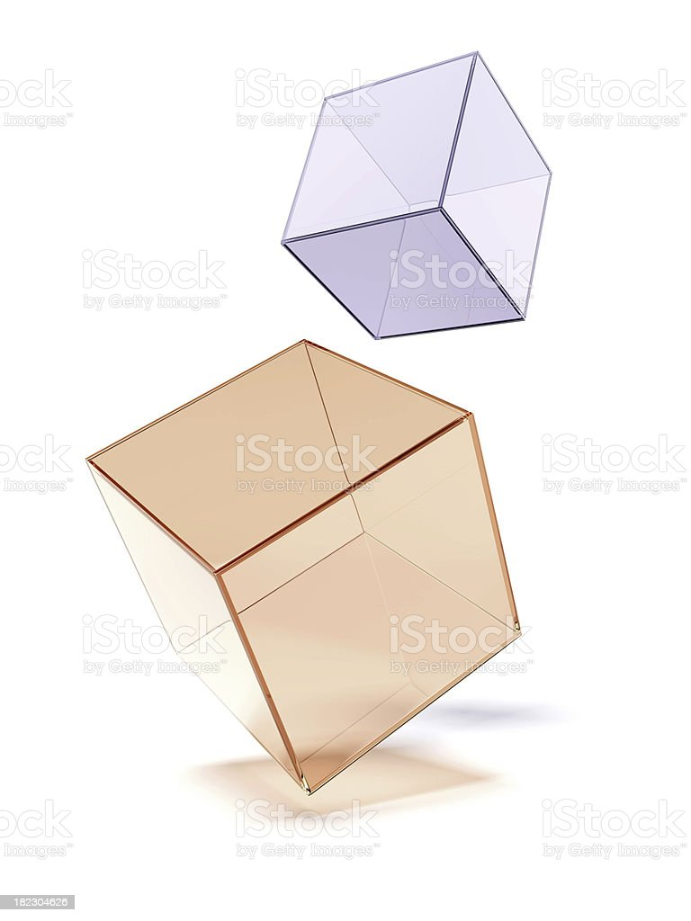 Two glass cubes stock photo