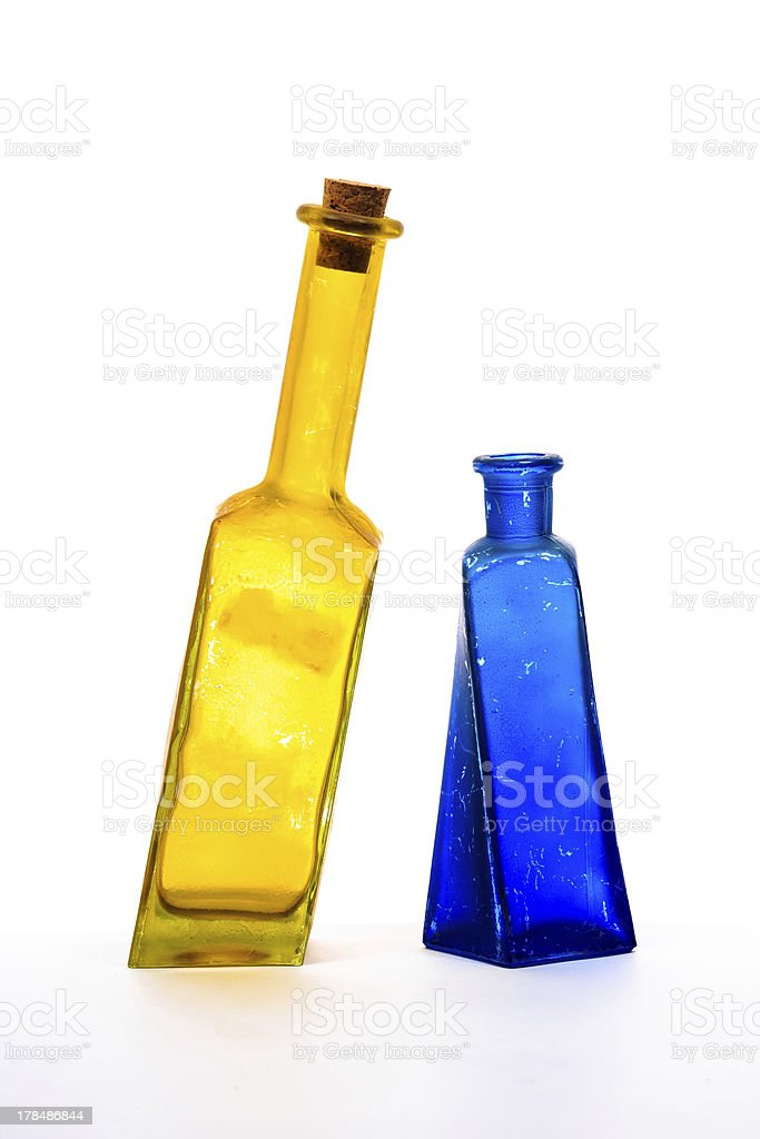 Two glass decorative bottles royalty-free stock photo