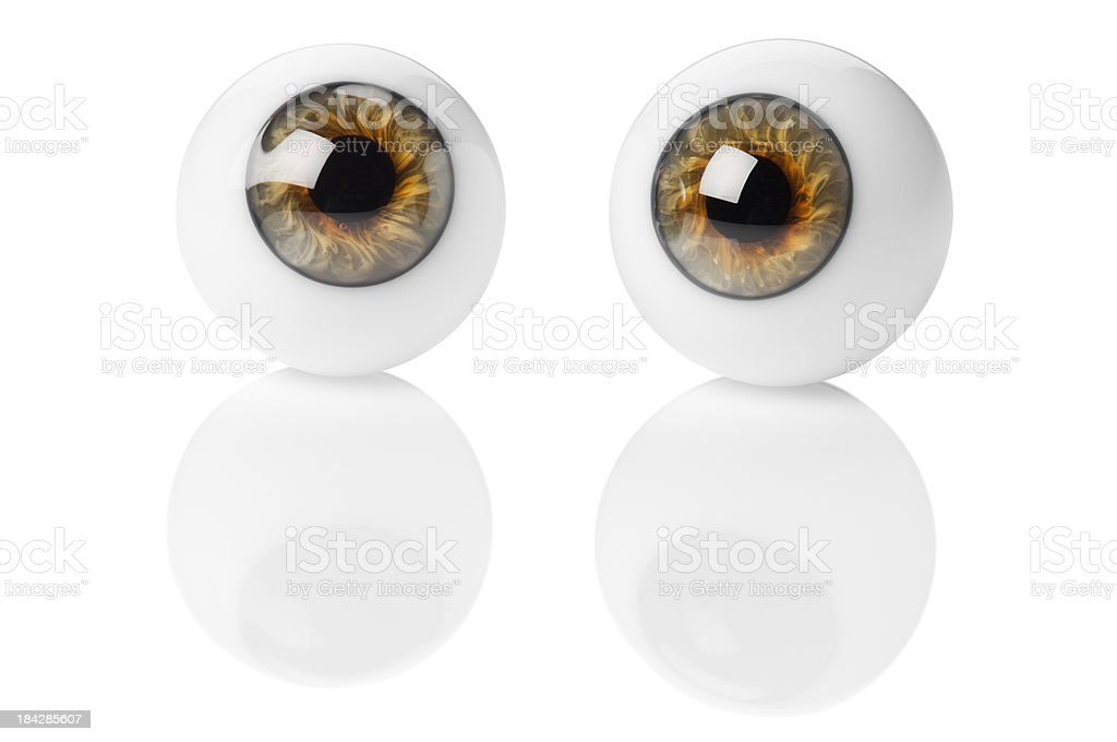 Two glass eye balls isolated on white background stock photo