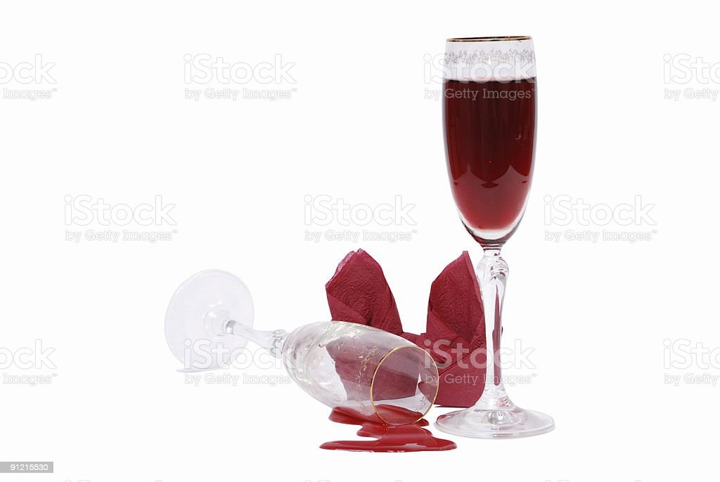 two glass glasses with red wine royalty-free stock photo