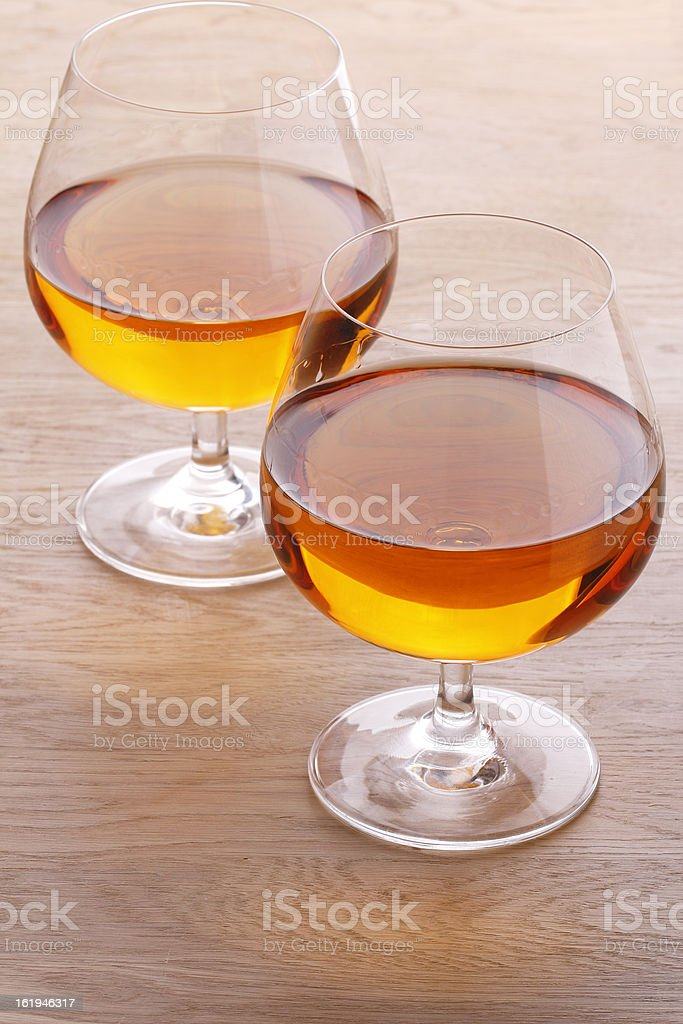 Two glass with brandy royalty-free stock photo