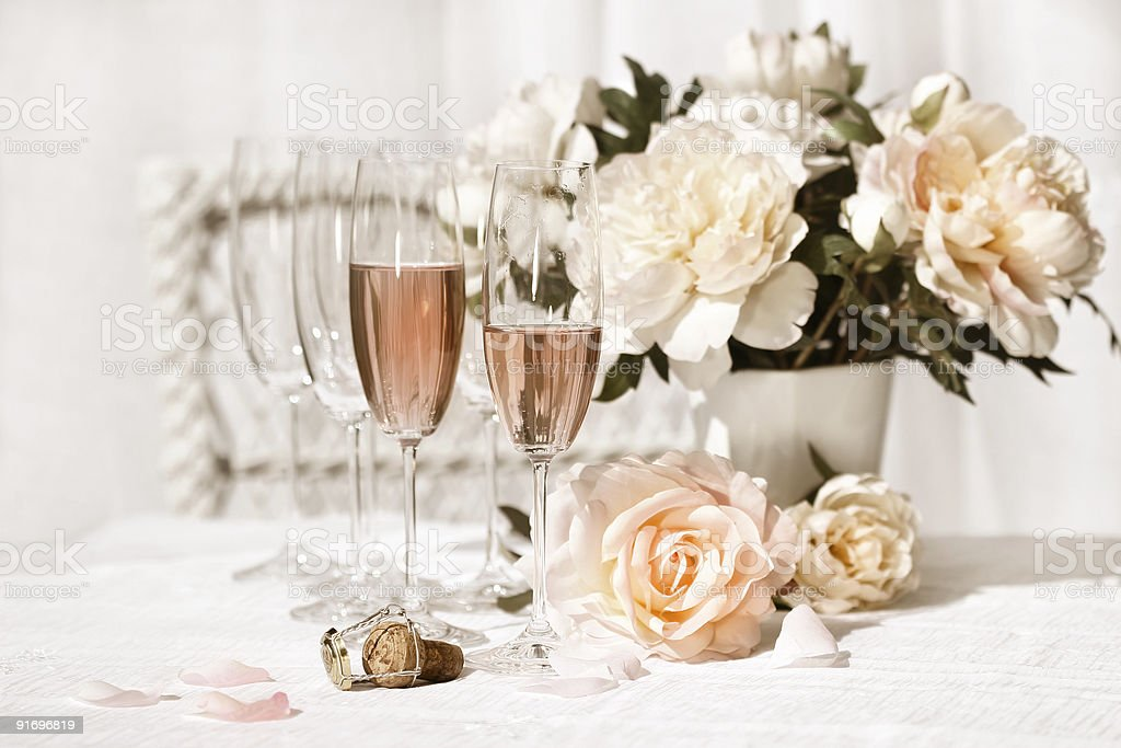Two glasses filled with pink Champagne stock photo