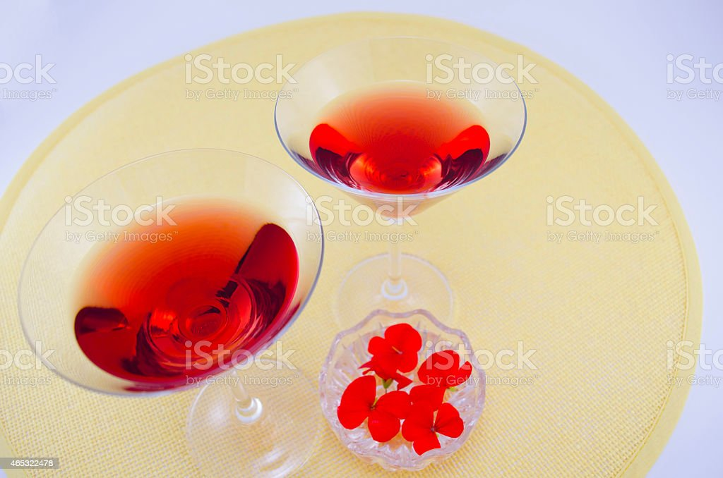 Two glasses filled with red drink royalty-free stock photo
