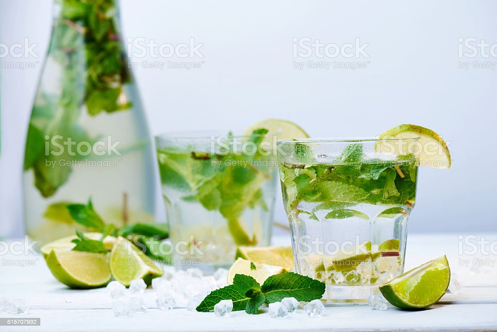 Two glasses of a cold fresh lemonade drink stock photo