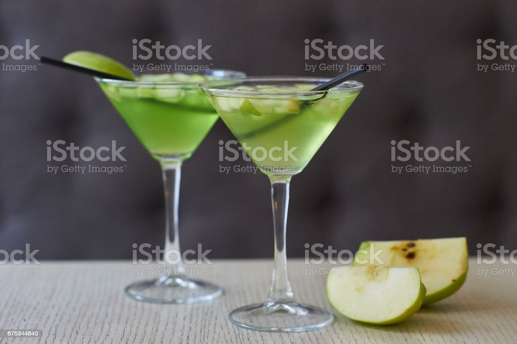 Two glasses of apple martini stock photo