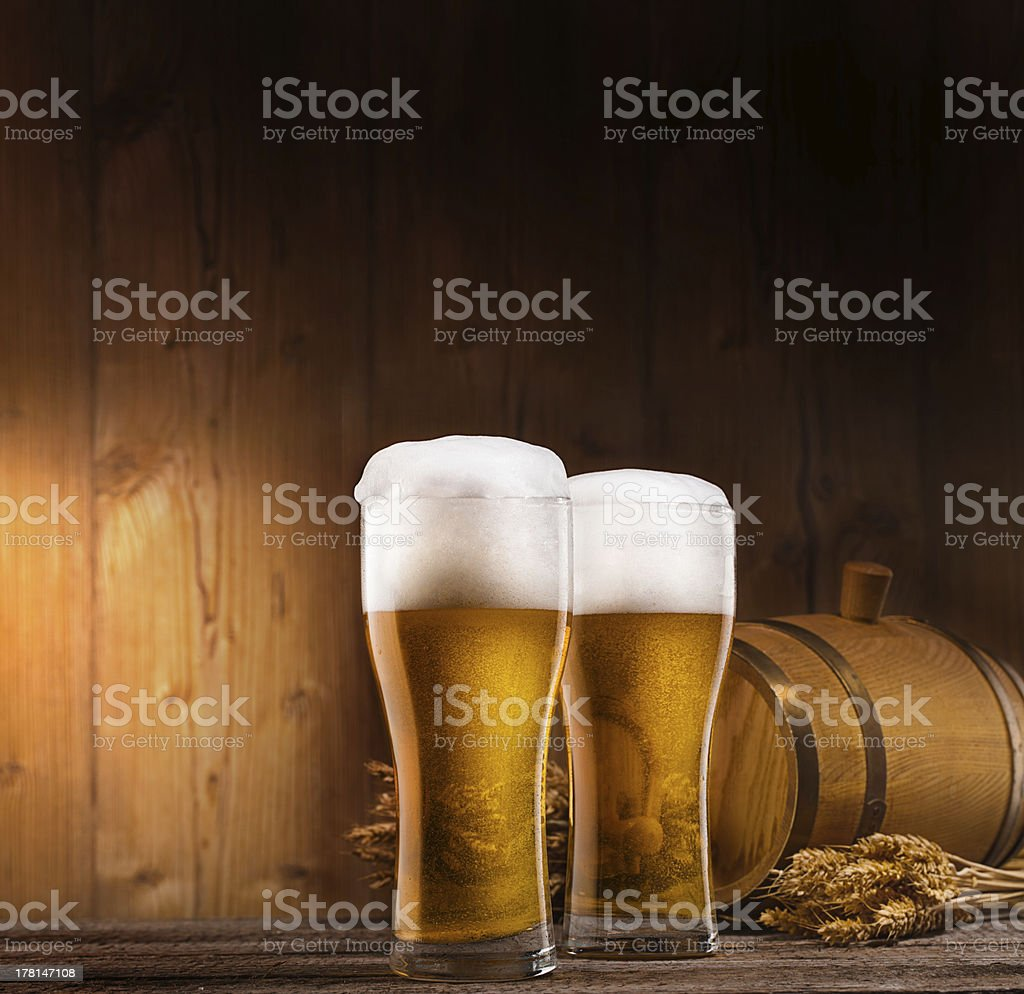 two glasses of beer royalty-free stock photo