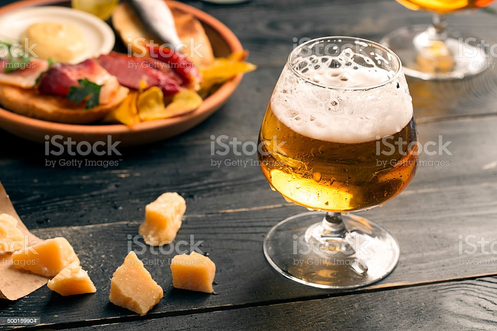 Two glasses of beer stock photo