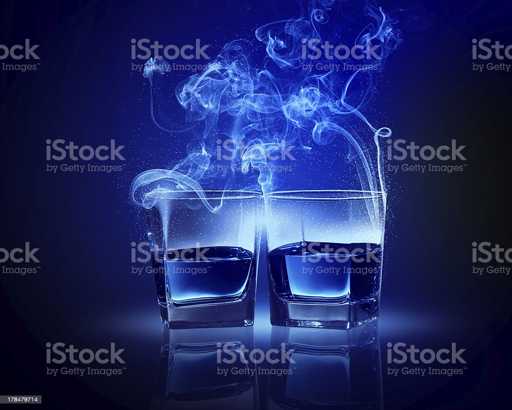 Two glasses of blue cocktail royalty-free stock photo