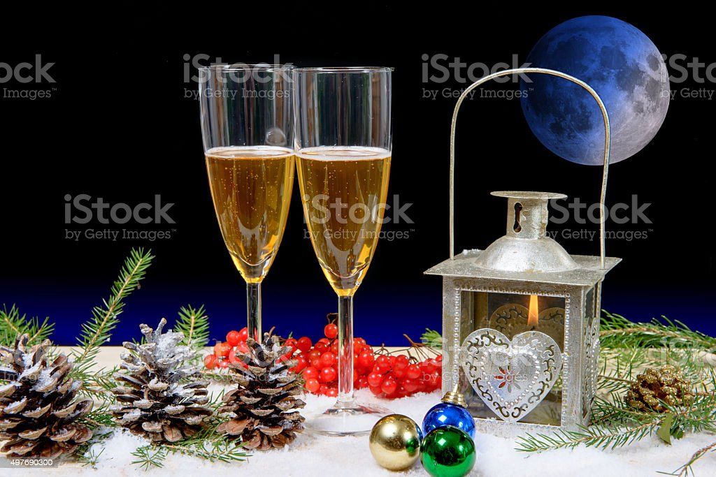 two glasses of champagne in a christmas decor stock photo