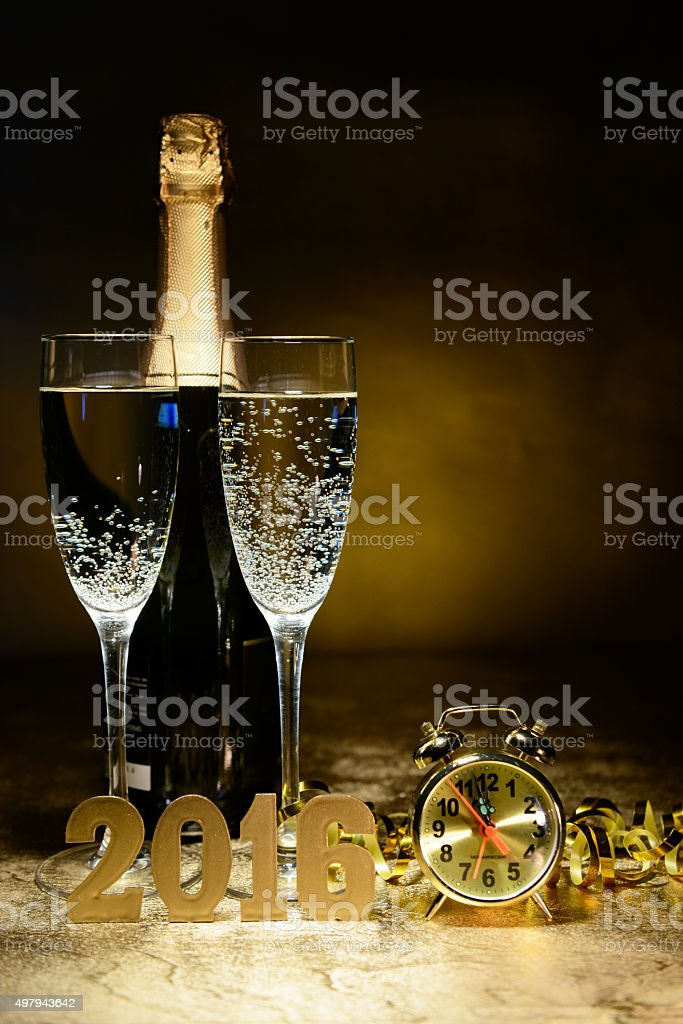two glasses of champagne on a festive background stock photo