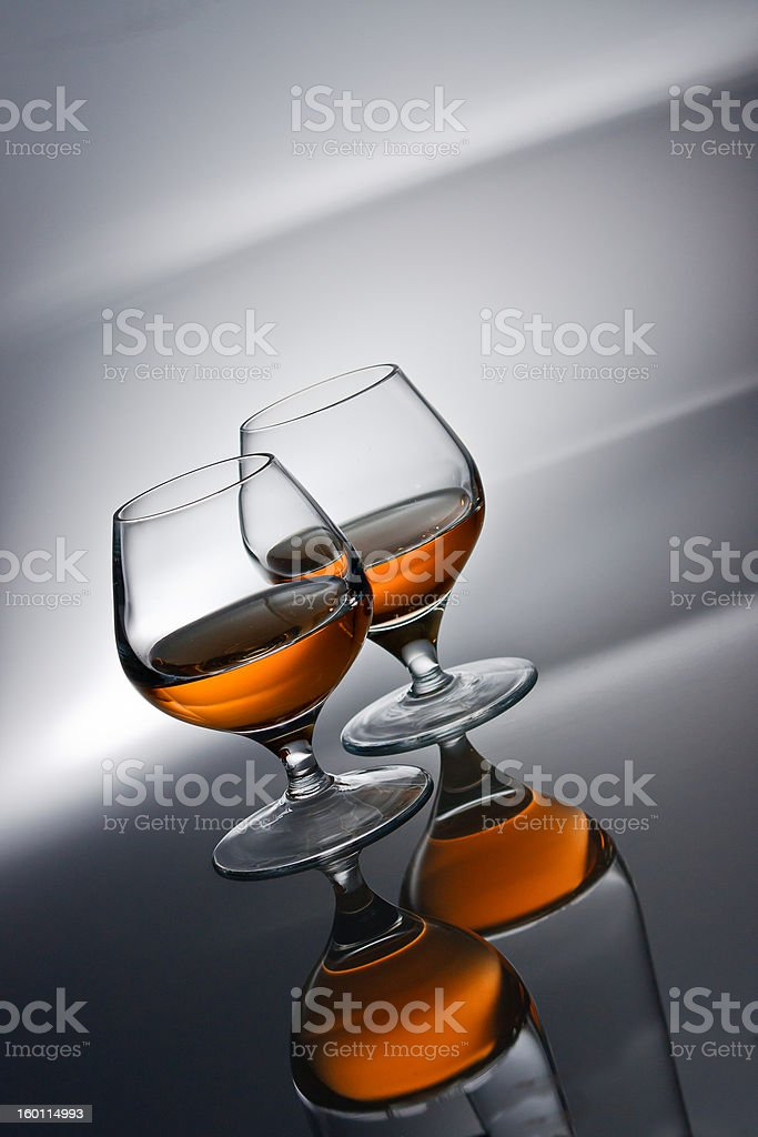 Two glasses of cognac royalty-free stock photo