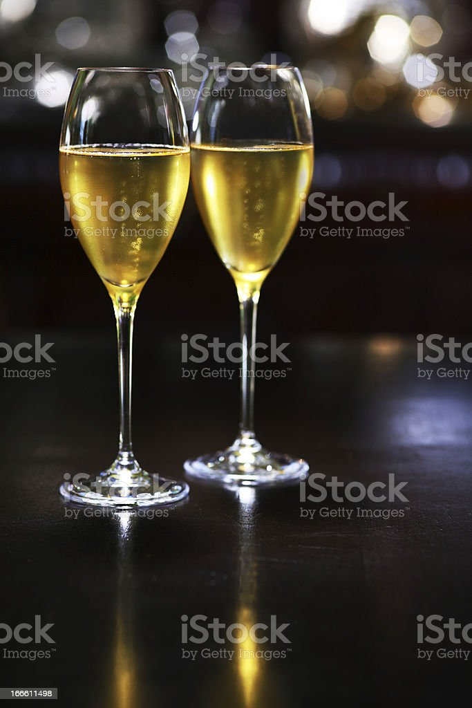 Two glasses of cold champagne royalty-free stock photo