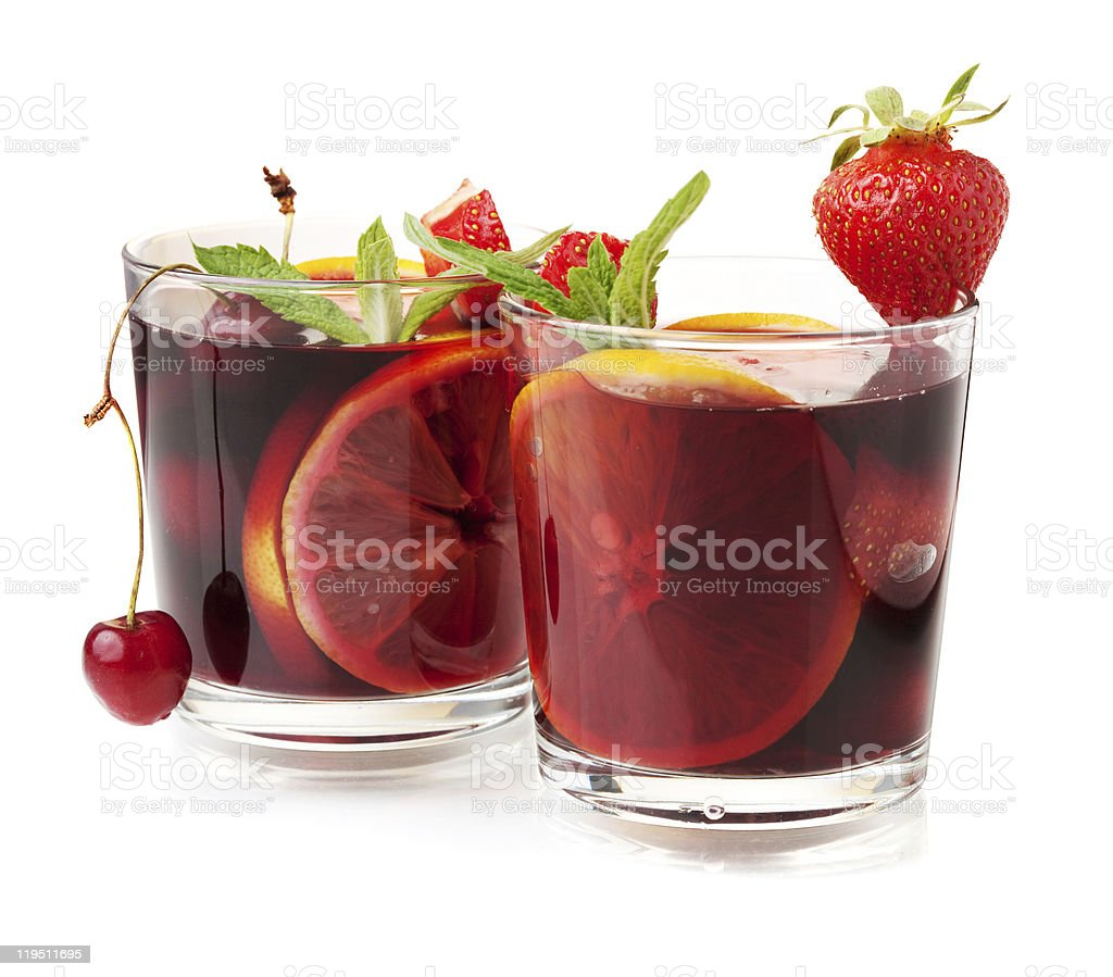 Two glasses of fresh fruit sangria stock photo