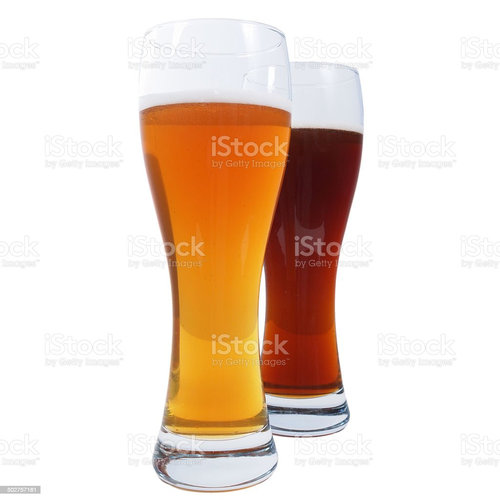 Two glasses of German beer stock photo