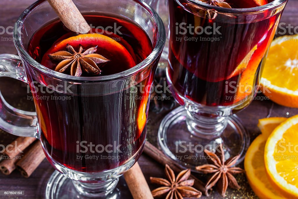 two glasses of hot mulled wine stock photo