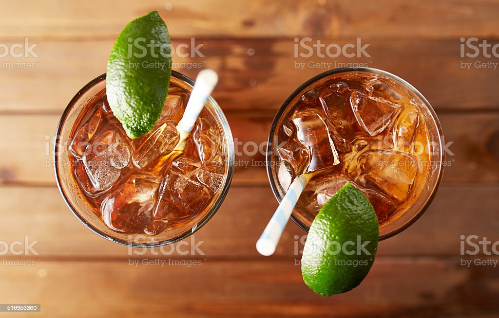 two glasses of iced sweet tea stock photo