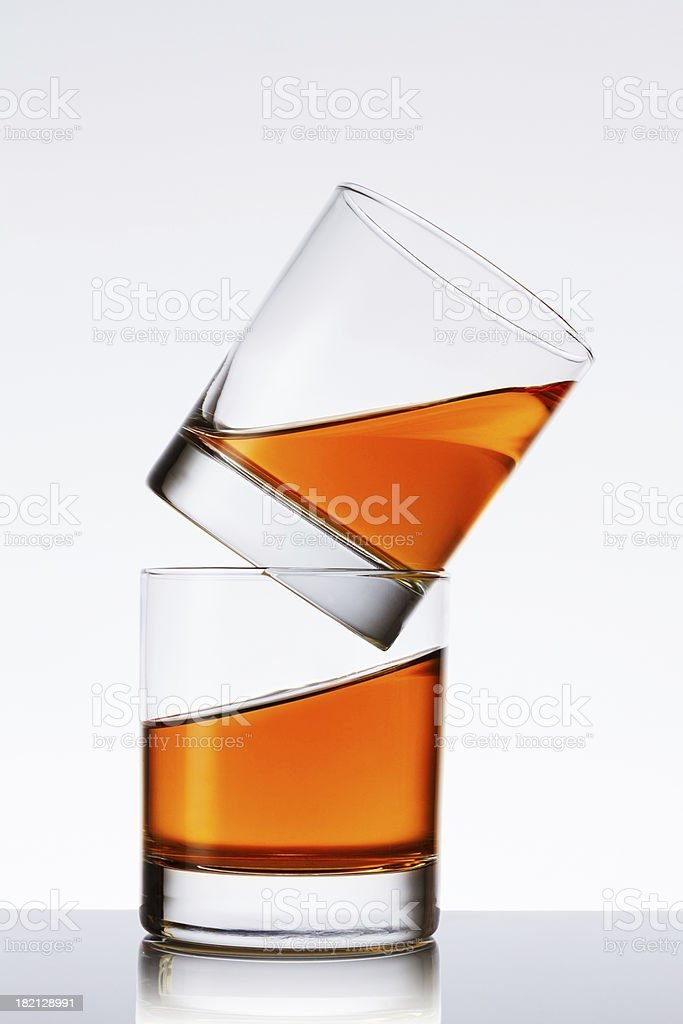 Two glasses of liquid royalty-free stock photo