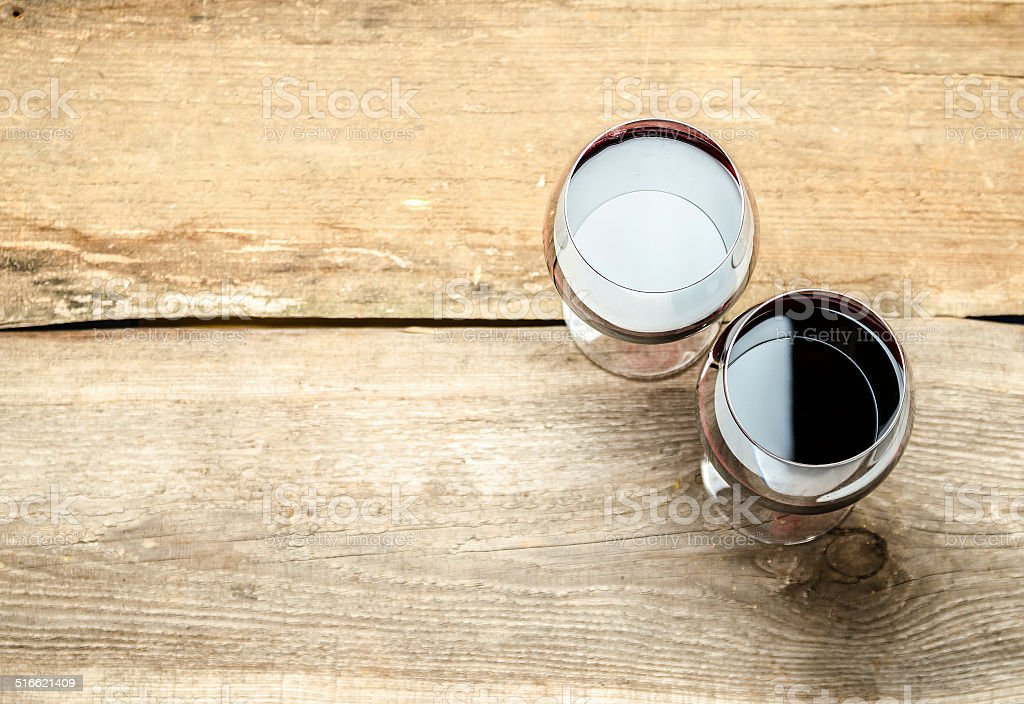 Two Glasses of Red Wine. The Top View stock photo