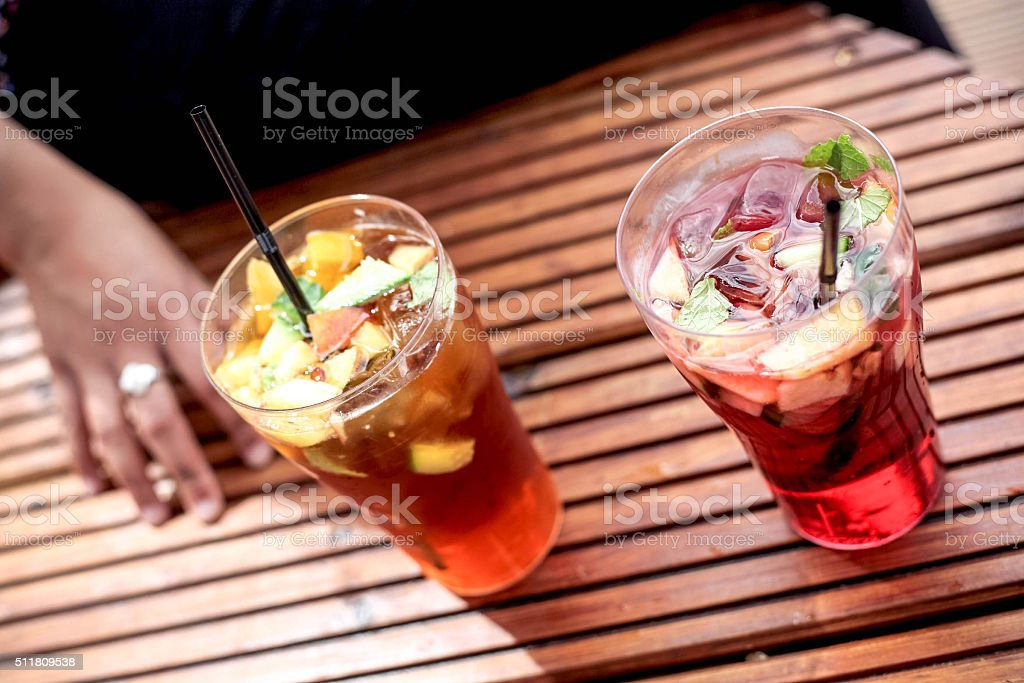 Two glasses of summer Pimms cocktail stock photo