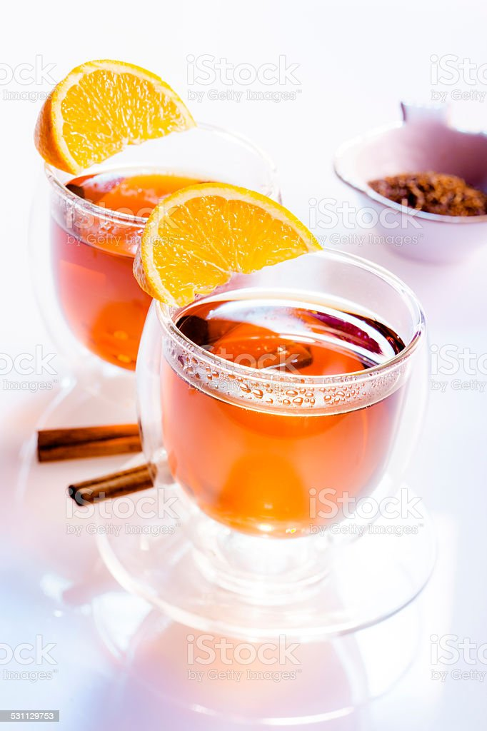 Two glasses of tea stock photo
