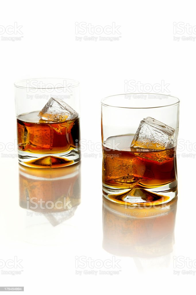Two glasses of whiskey royalty-free stock photo