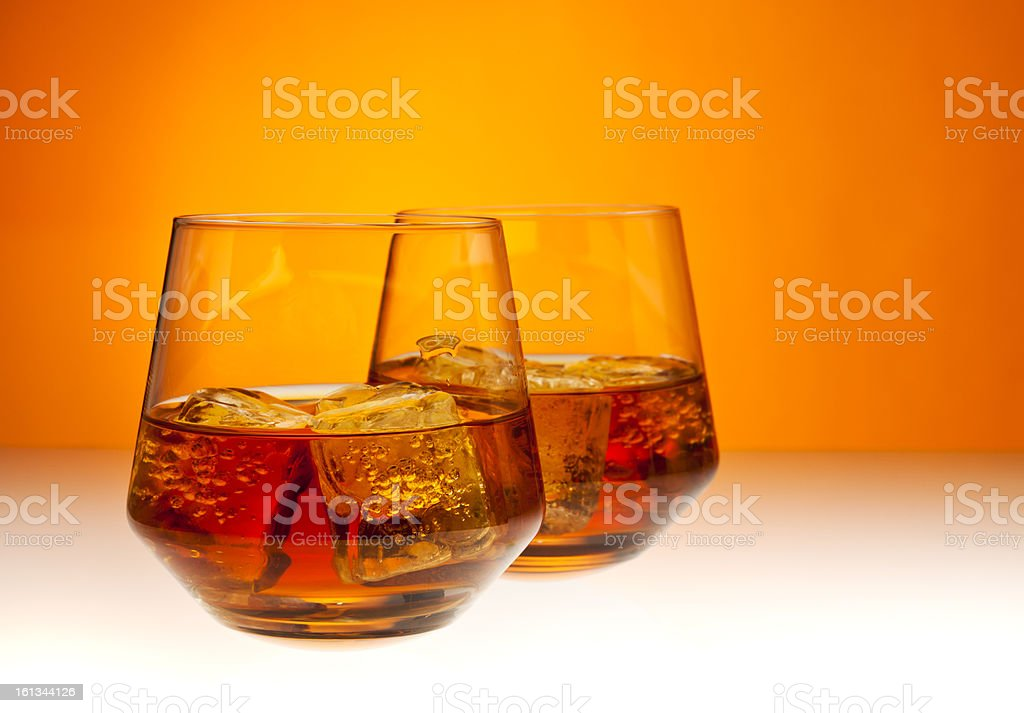 Two glasses of Whisky royalty-free stock photo