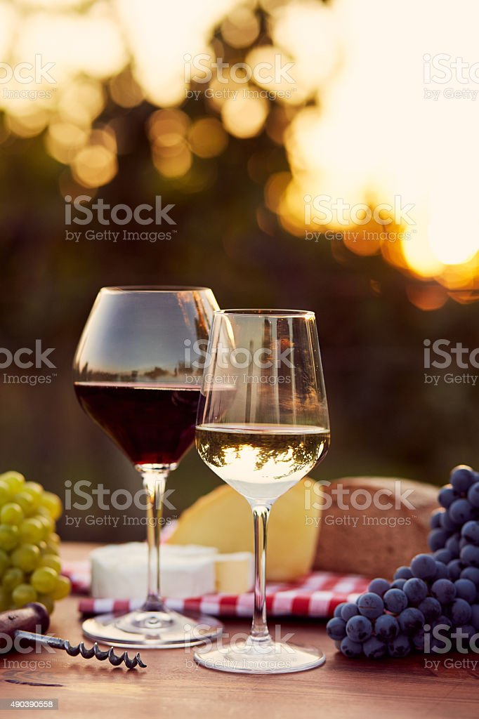 Two glasses of white and red wine stock photo