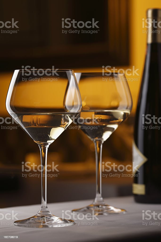 Two glasses of white wine royalty-free stock photo