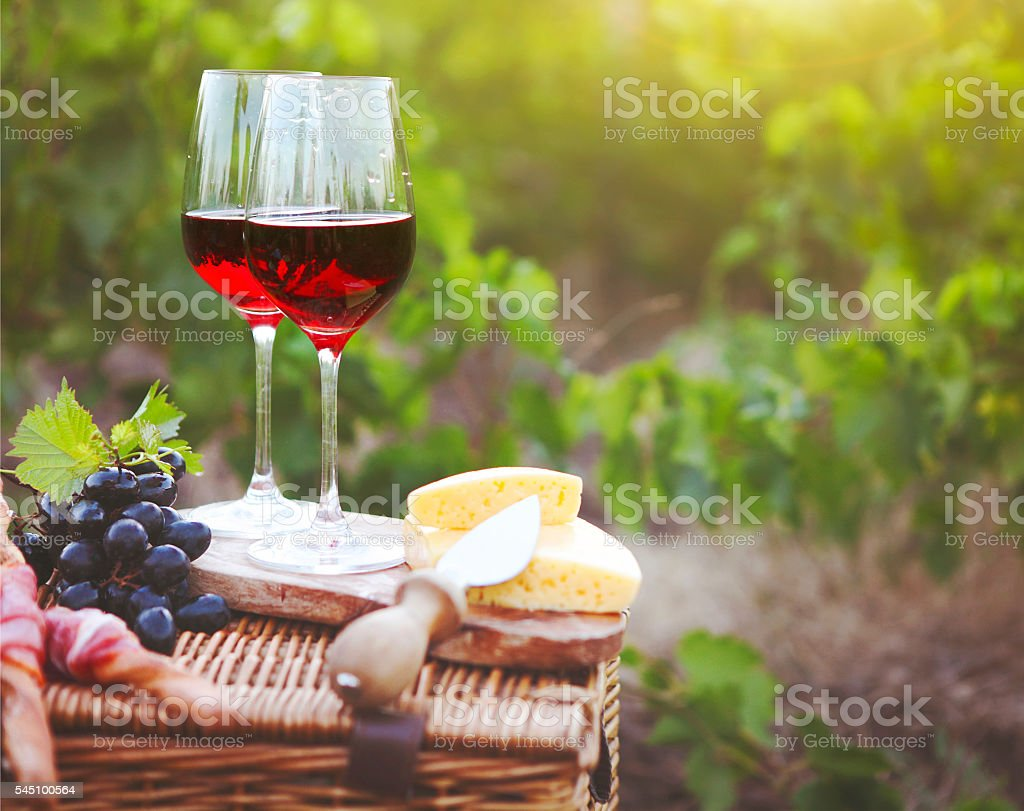 Two glasses of wine, bread, meat, cheese on the vineyard stock photo