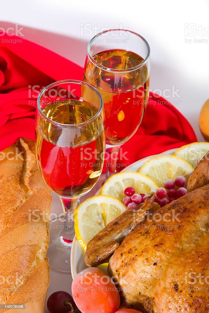 two glasses of wine with dinner royalty-free stock photo
