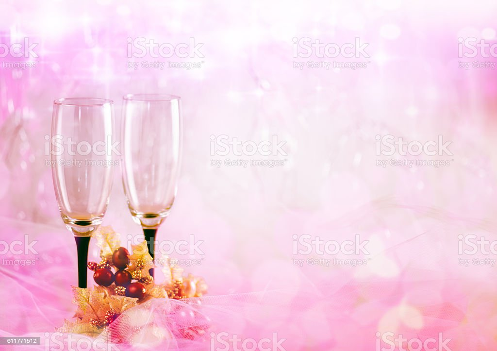 Two Glasses over Pink Background stock photo