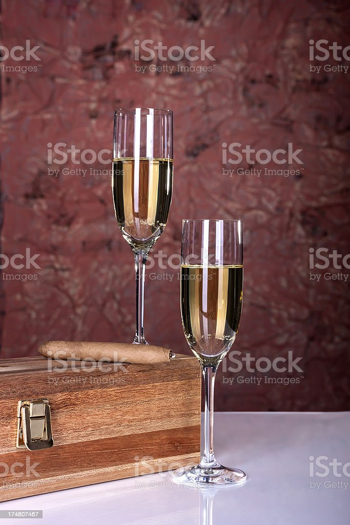 Two Glasses Wine And Cigar royalty-free stock photo