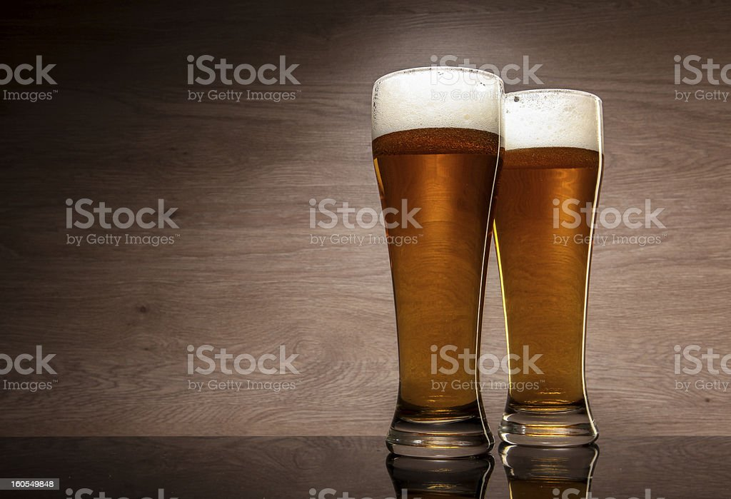 Two glasses with beer royalty-free stock photo
