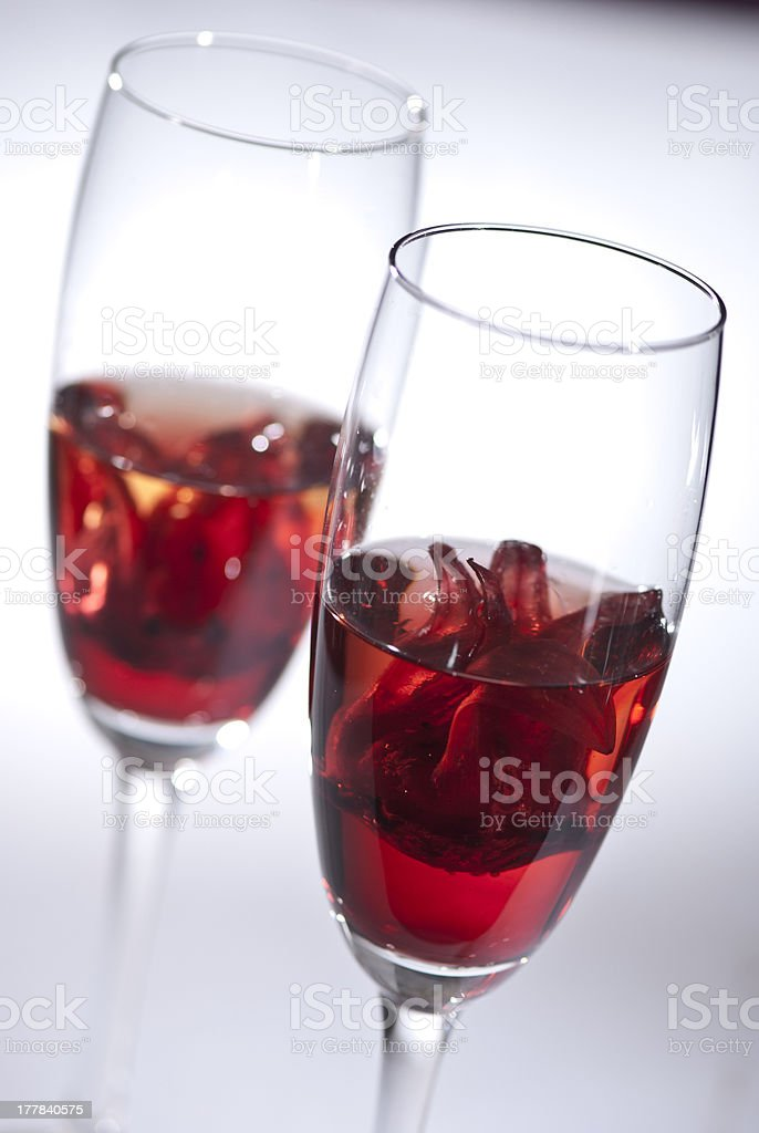 Two glasses with champagne cocktails stock photo