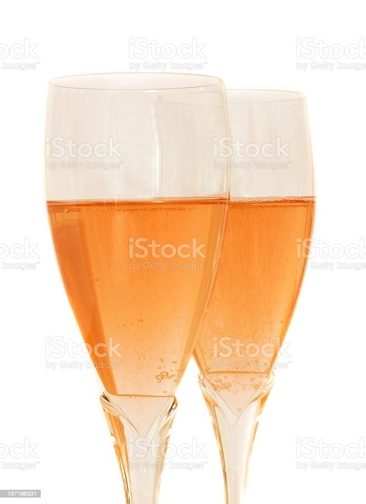 Two glasses with rose sparkling wine royalty-free stock photo