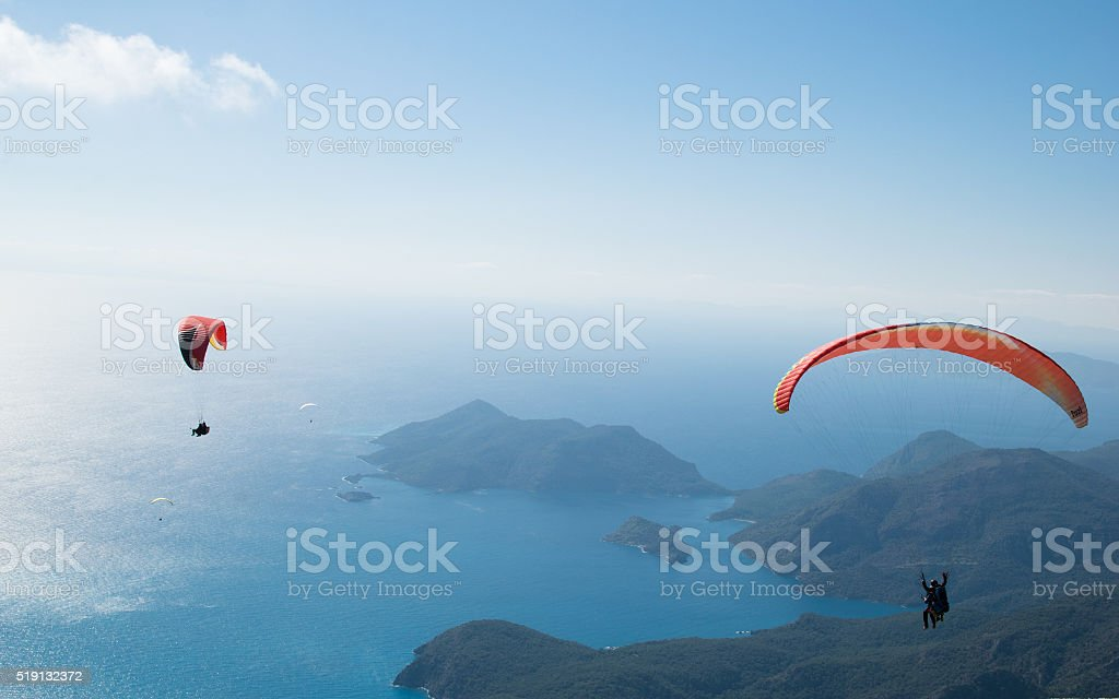 two gliders in the sky stock photo