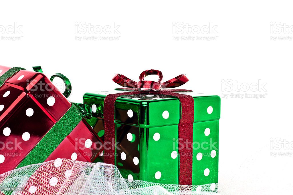 Two glittery square Christmas gift boxes royalty-free stock photo