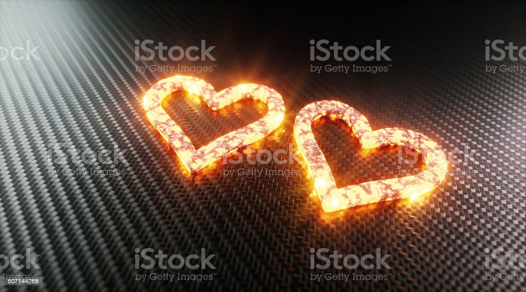 Two glowing hearts stock photo
