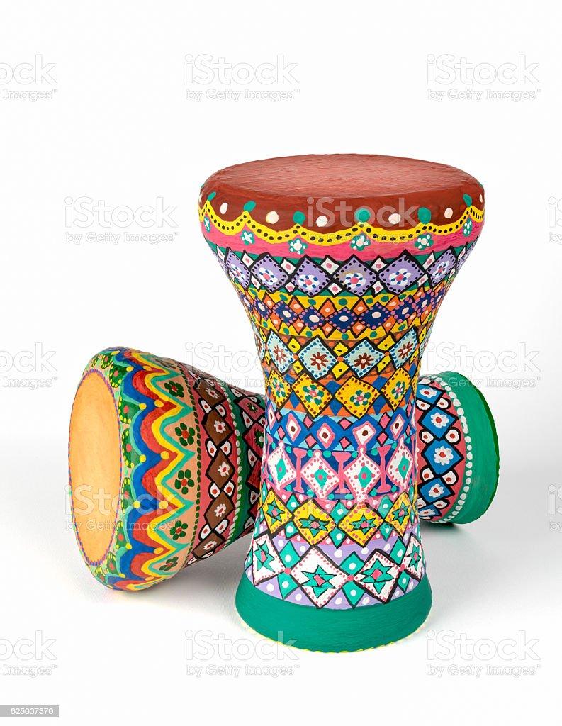 Two goblet drums (also chalice drum, tarabuka, darbuka, debuka) stock photo