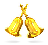 Two gold bell (3d illustration).
