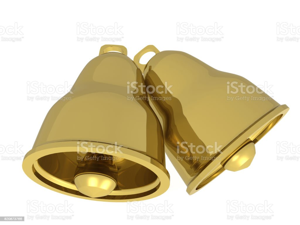 Two gold bells stock photo