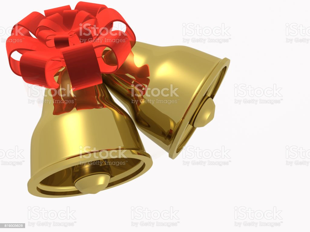 Two gold bells with ribbon stock photo