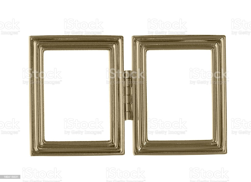 Two gold blank picture frames with hinge isolated on white royalty-free stock photo