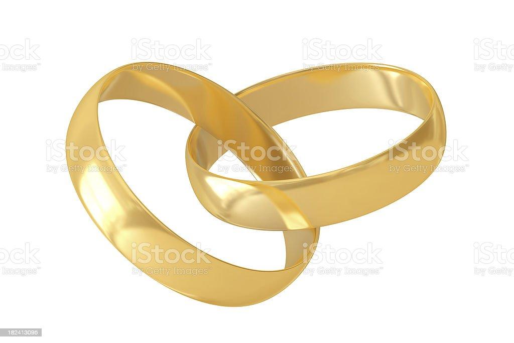 Two gold interlocked wedding rings on white background royalty-free stock photo