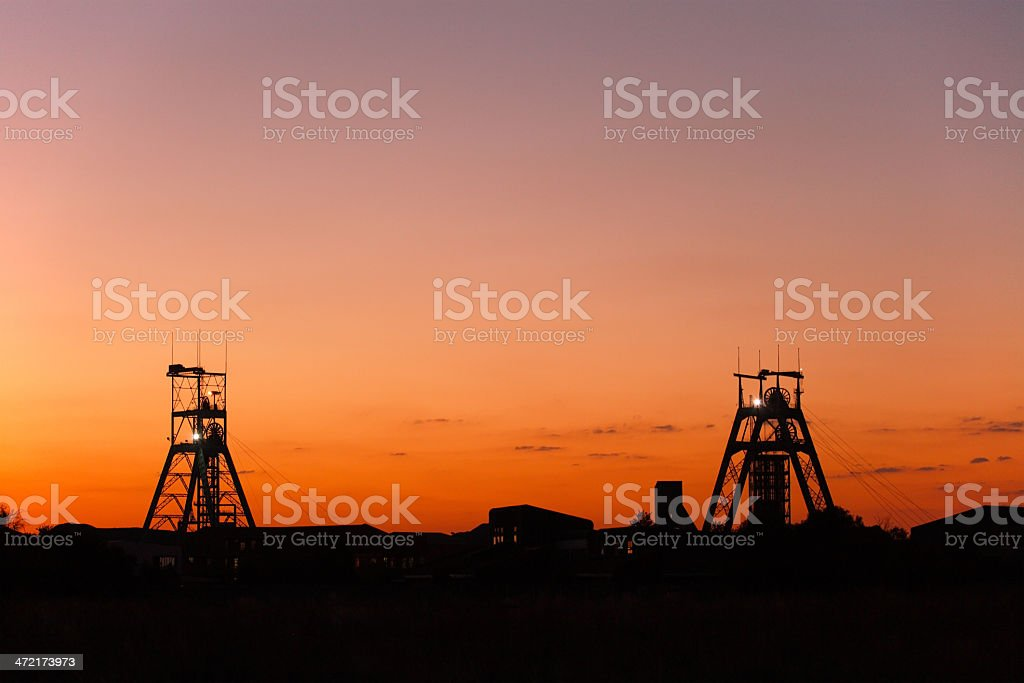 two Gold or platinum mine workings building in South Africa stock photo