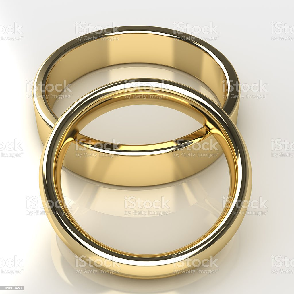Two gold wedding rings royalty-free stock photo