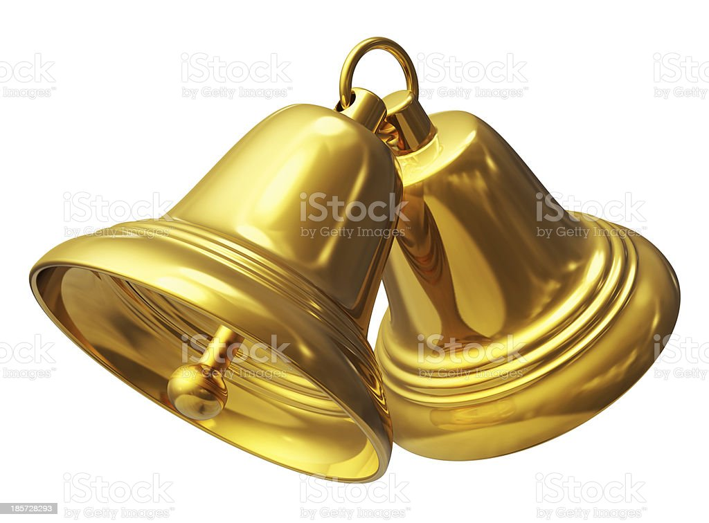 Two golden Christmas bells on white stock photo