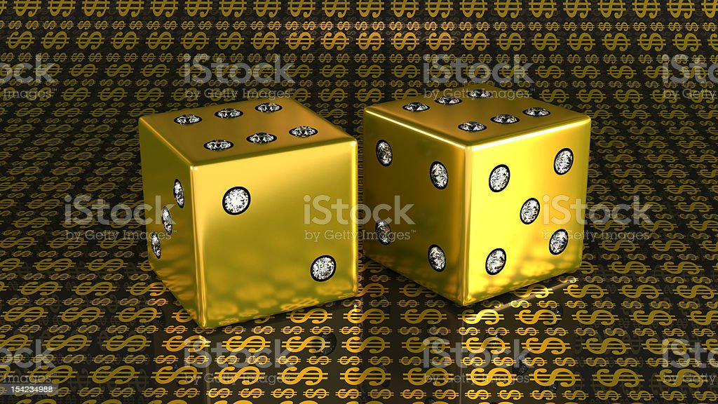XXXL Two golden dies with gems over US dollar background royalty-free stock photo