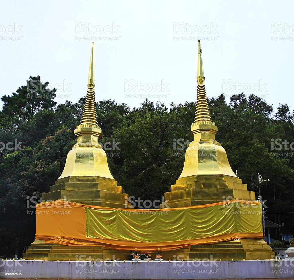 Two golden pagodas in Phra That Doi Tung temple royalty-free stock photo