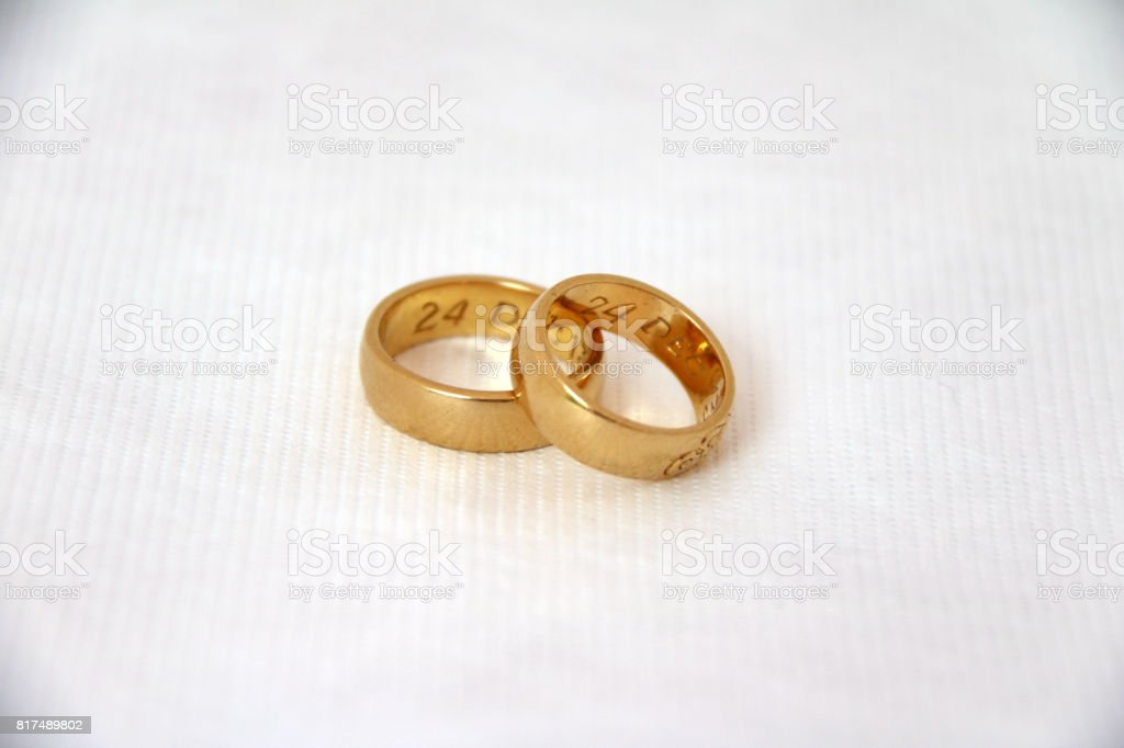 Two Golden ring for Wedding Day. stock photo